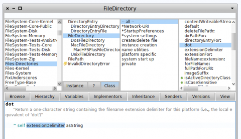 pharo 1.4  에서의 FileDirectory>>dot method